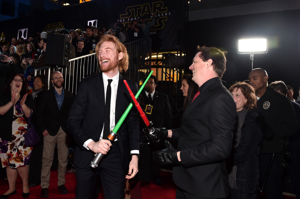 HOLLYWOOD, CA - DECEMBER 14: Actor Domhnall Gleeson (L) attends the World Premiere of ?Star Wars: The Force Awakens? at the Dolby, El Capitan, and TCL Theatres on December 14, 2015 in Hollywood, California. (Photo by Alberto E. Rodriguez/Getty Images for Disney) *** Local Caption *** Domhnall Gleeson