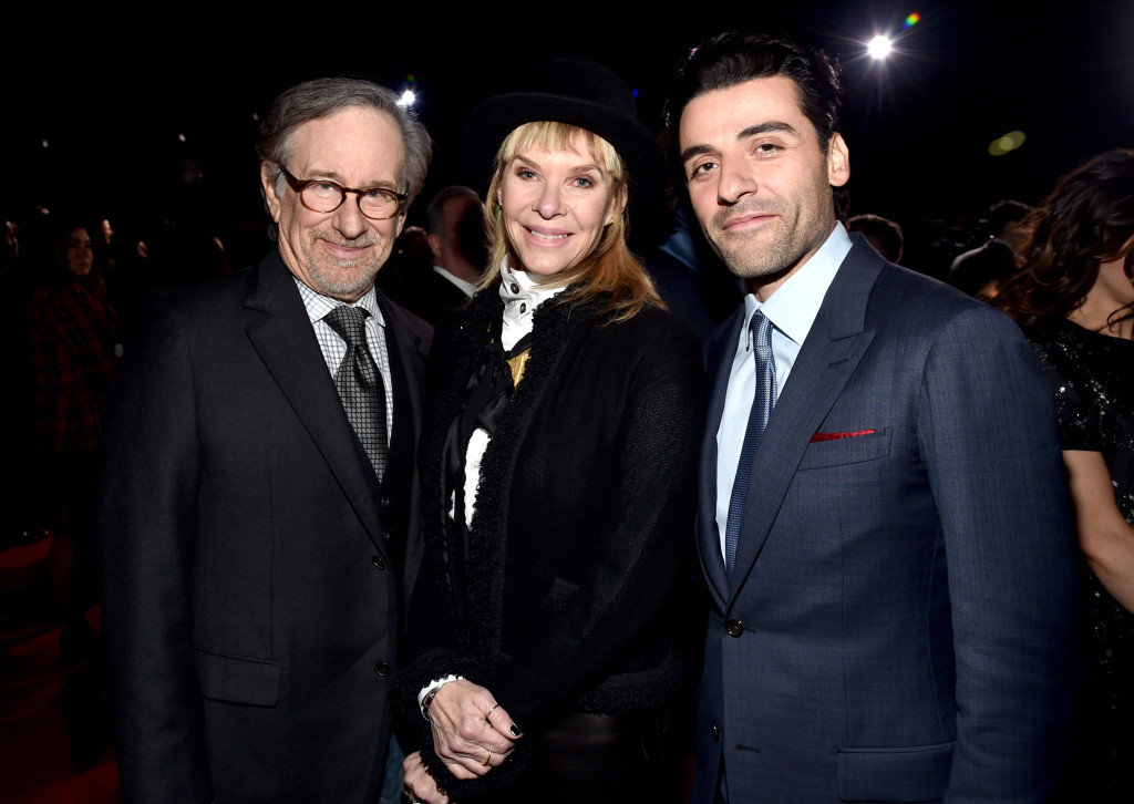 HOLLYWOOD, CA - DECEMBER 14: (L-R) Director Steven Spielberg and actors Kate Capshaw and Oscar Isaac attend the World Premiere of ?Star Wars: The Force Awakens? at the Dolby, El Capitan, and TCL Theatres on December 14, 2015 in Hollywood, California. (Photo by Alberto E. Rodriguez/Getty Images for Disney) *** Local Caption *** Steven Spielberg;Kate Capshaw;Oscar Isaac