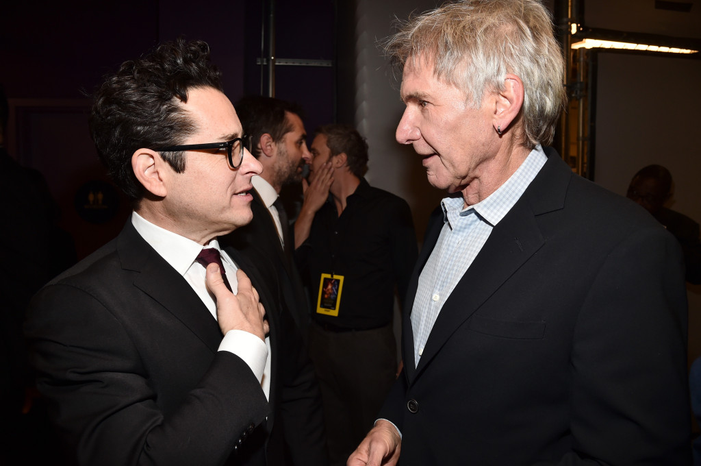 HOLLYWOOD, CA - DECEMBER 14: Director J.J. Abrams (L) and actor Harrison Ford attend the World Premiere of ?Star Wars: The Force Awakens? at the Dolby, El Capitan, and TCL Theatres on December 14, 2015 in Hollywood, California. (Photo by Alberto E. Rodriguez/Getty Images for Disney) *** Local Caption *** J.J. Abrams;Harrison Ford