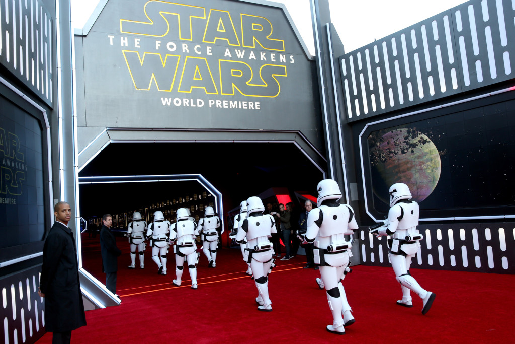 HOLLYWOOD, CA - DECEMBER 14: Stormtroopers attend the World Premiere of ?Star Wars: The Force Awakens? at the Dolby, El Capitan, and TCL Theatres on December 14, 2015 in Hollywood, California. (Photo by Jesse Grant/Getty Images for Disney)