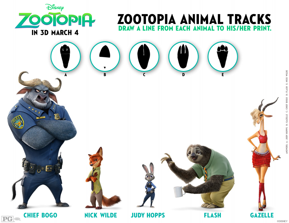 Zootopia Animal Tracks