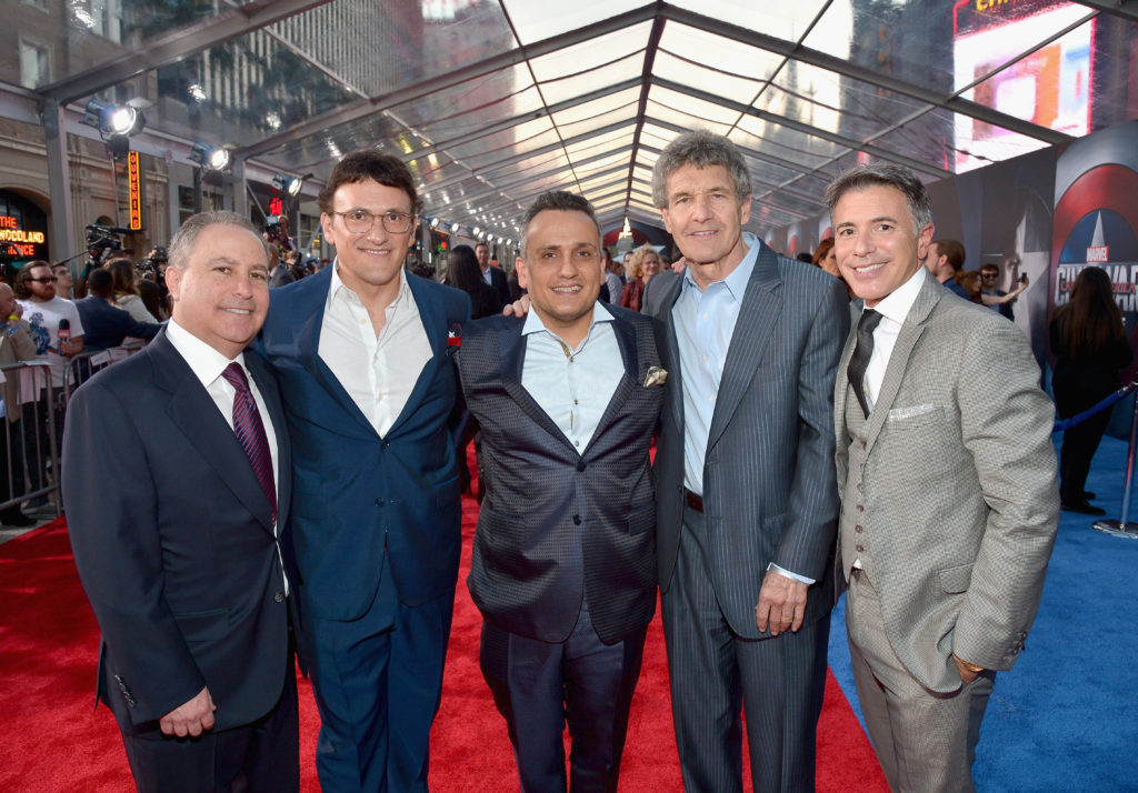 """HOLLYWOOD, CALIFORNIA - APRIL 12: (L-R) President, The Walt Disney Studios, Alan Bergman, directors Anthony Russo, Joe Russo, Chairman, The Walt Disney Studios, Alan Horn and President of Marketing for The Walt Disney Studios, Ricky Strauss attend The World Premiere of Marvel's """"Captain America: Civil War"""" at Dolby Theatre on April 12, 2016 in Los Angeles, California. (Photo by Charley Gallay/Getty Images for Disney) *** Local Caption *** Alan Bergman; Anthony Russo; Joe Russo; Alan Horn; Ricky Strauss"""