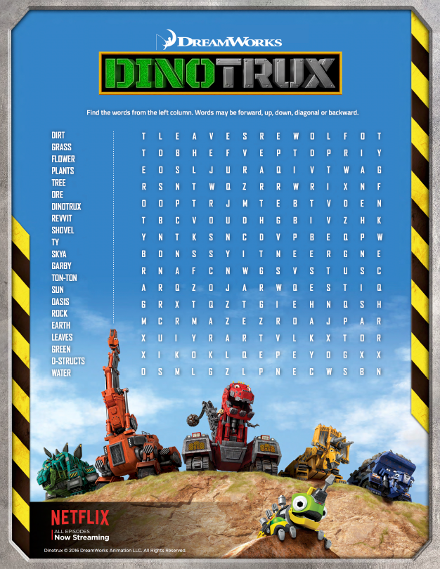 Dinotrux Earth Day Word Search