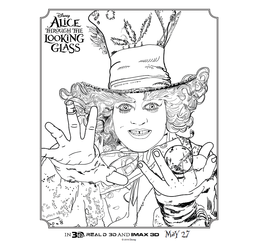 Alice #ThroughTheLookingGlass Activity & Coloring Sheets