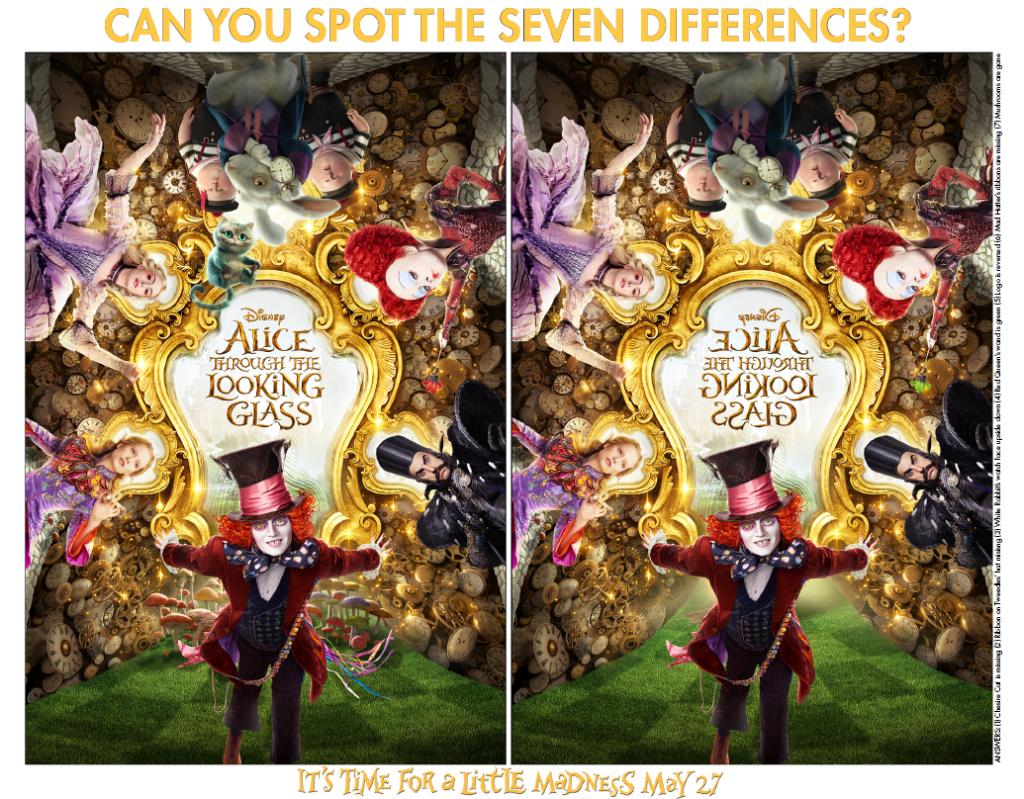 Alice Through The Looking Glass Spot the Difference