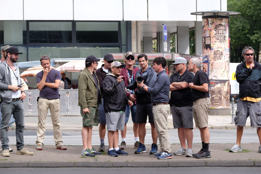Captain America: Civil War L to R: Directors Joe Russo and Anthony Russo, w/ D.P. Trent Opaloch and crew on set. Ph: Zade Rosenthal ©Marvel 2016