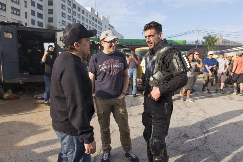 Captain America: Civil War L to R: Director Joe Russo, Director Anthony Russo, and Frank Grillo (Crossbones/Brock Rumlow) on set. Ph: Zade Rosenthal ©Marvel 2016