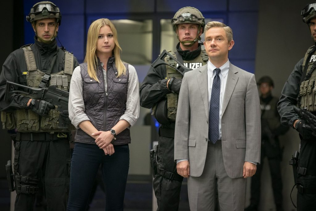 Marvel's Captain America: Civil War..L to R: Agent 13/Sharon Carter (Emily VanCamp) and Everett K. Ross (Martin Freeman)..Photo Credit: Zade Rosenthal..© Marvel 2016