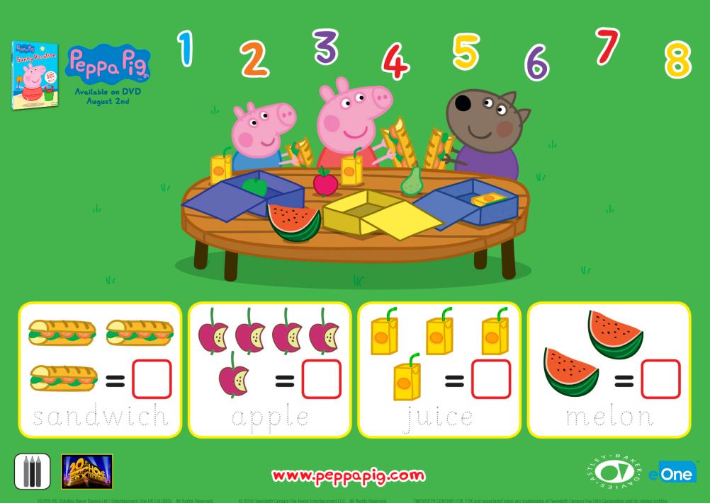 Peppa Pig Counting Sheet