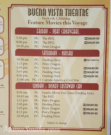 Movie List Disney Cruise