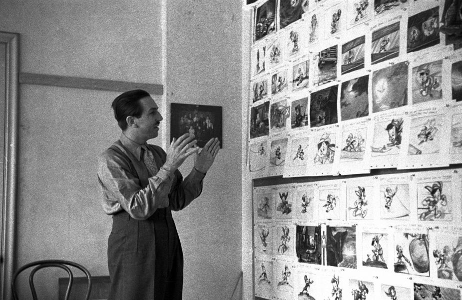 Walt at the Pinocchio storyboard meeting