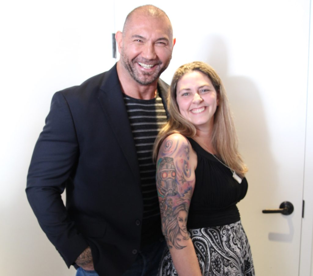 Mama Smith and Dave Bautista Guardians of the Galaxy Volume 2