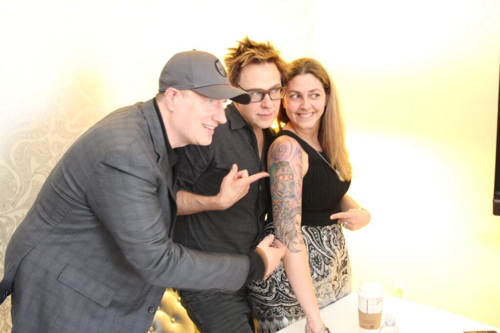 Mama Smith with Marvel's Kevin Feige and James Gunn MamaSmiths.com