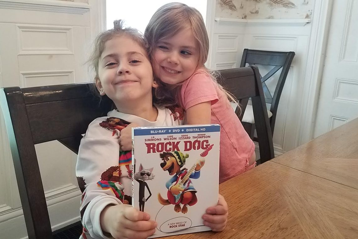 girls with rock dog