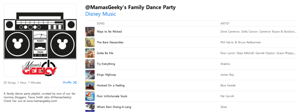 Party Playlist check out my disney family dance party playlist on apple music!