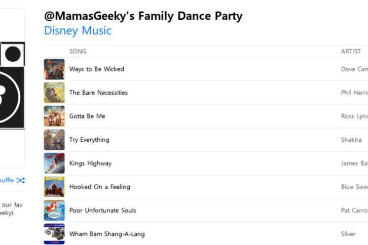 Mama's Geeky Family Dance Party Playlist
