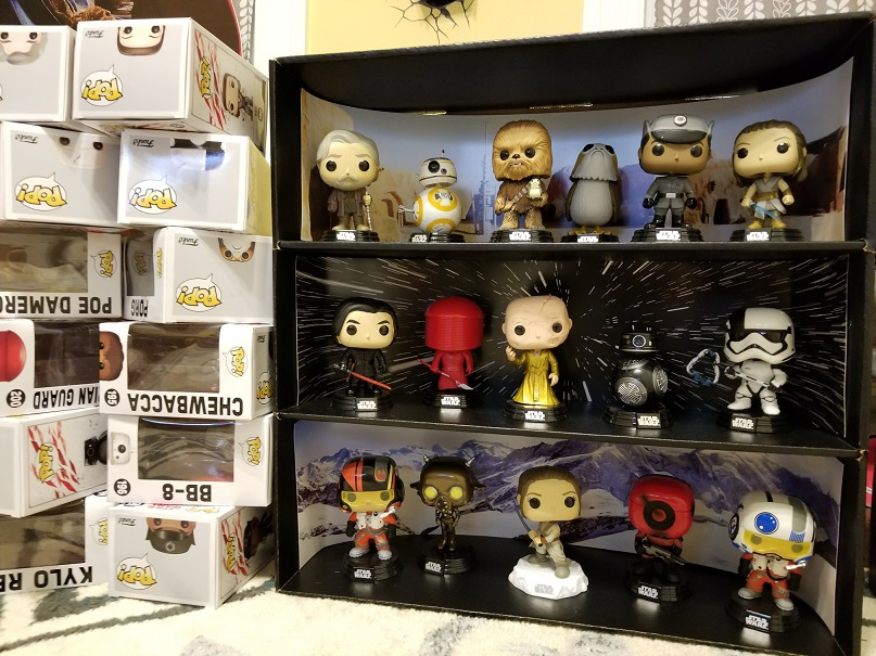 Display Geek Star Wars Case with Pops and boxes