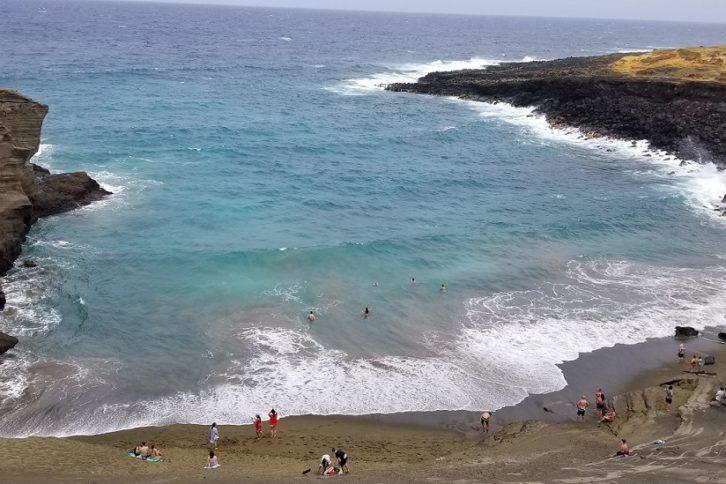 Green sand beach Hawaii Big Island