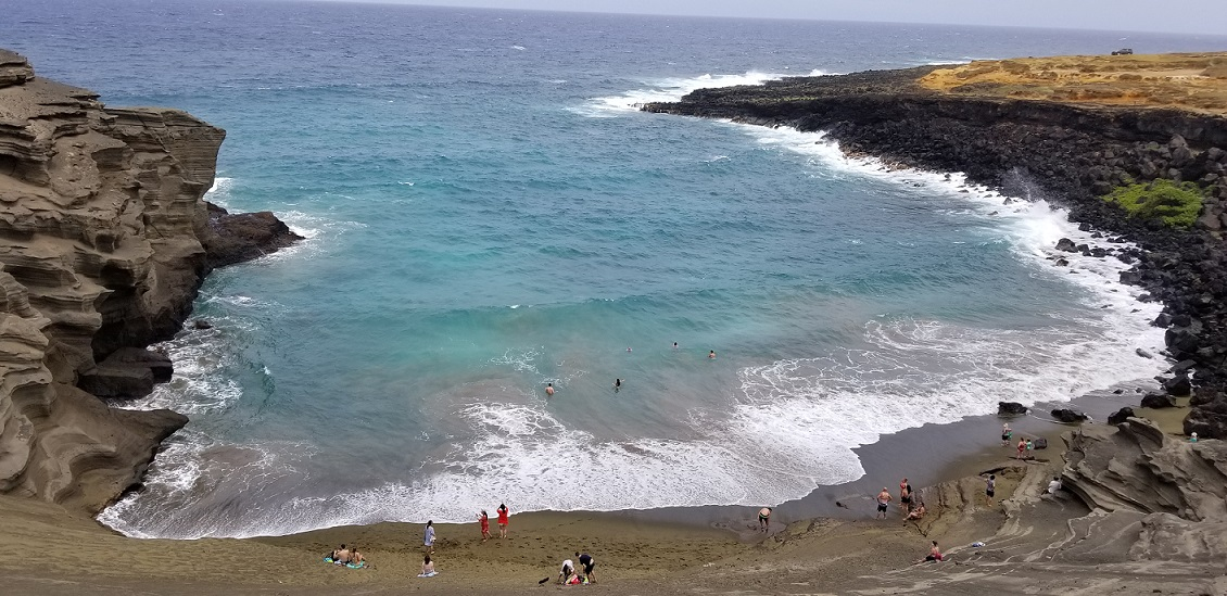 Green sand beach Hawaii Big Island