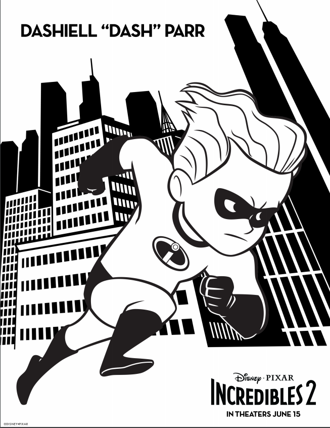 Incredibles 2 Dash Coloring Page