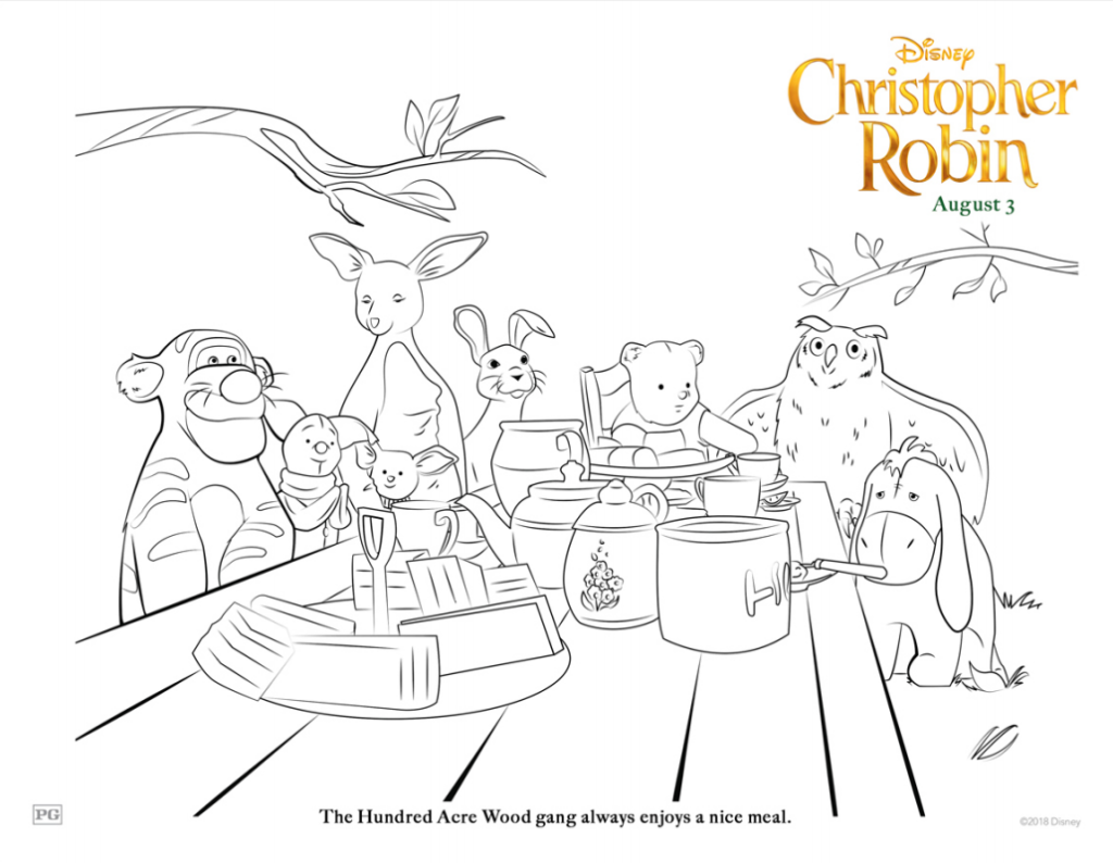 Christopher Robin Hundred Acre Wood Coloring Page