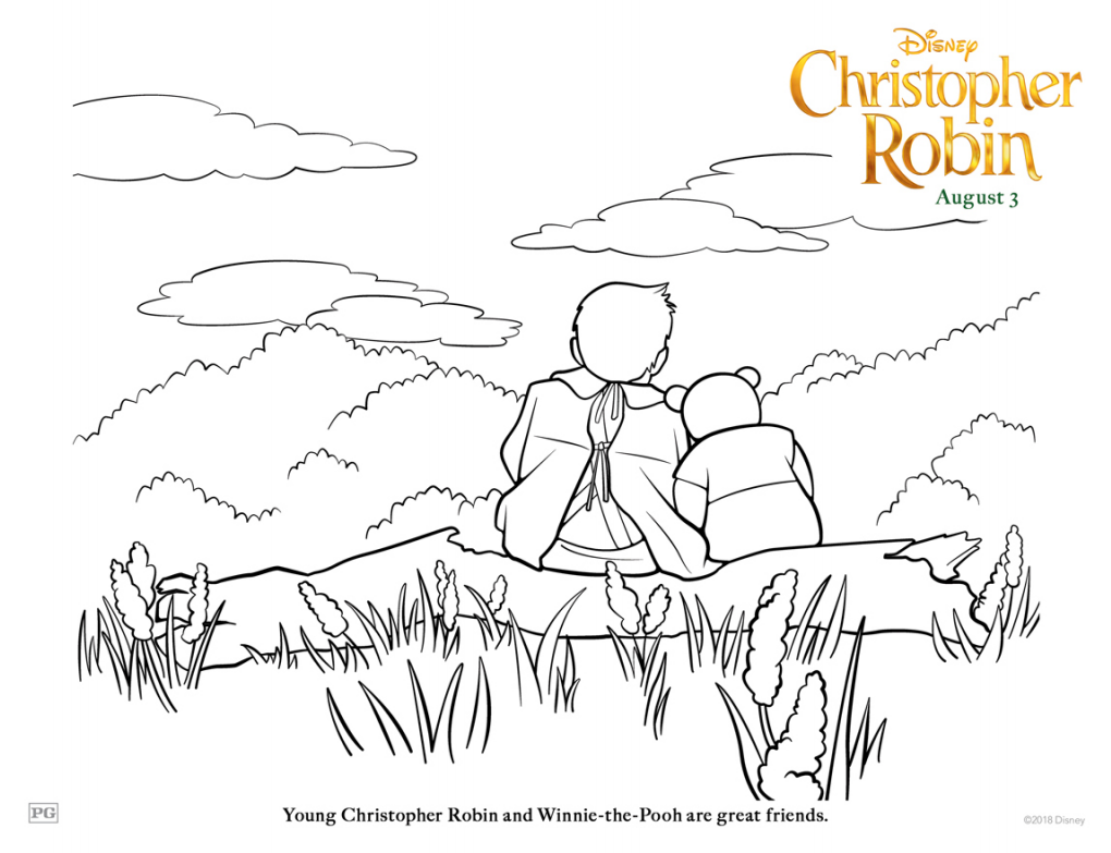 Christopher Robin Pooh and Christopher Coloring Page