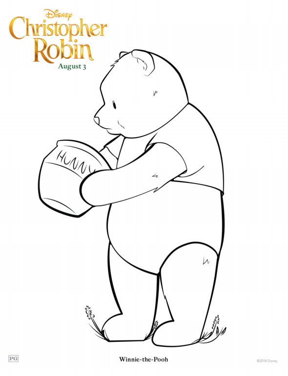 Christopher Robin Winnie the Pooh Coloring Page