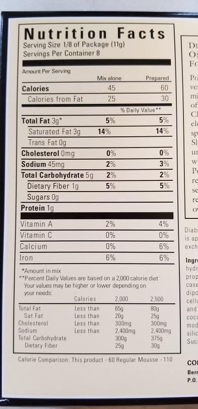 Sans Sucre Mousse Nutritional Info