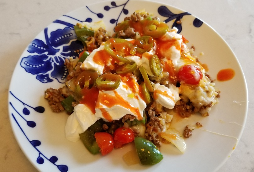 Keto taco skillet with toppings