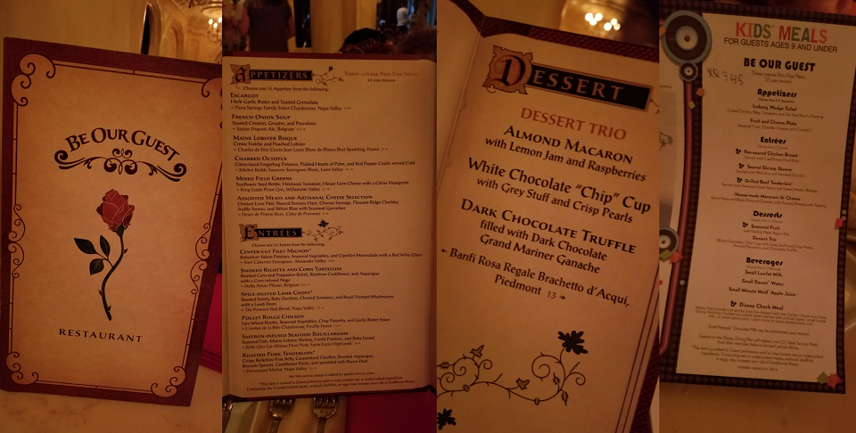 New Be Our Guest Menu