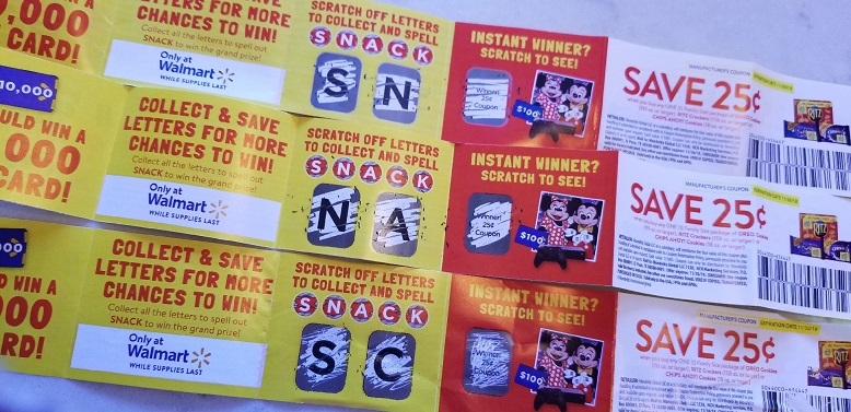 Walmart Collect to Win scratch off letters