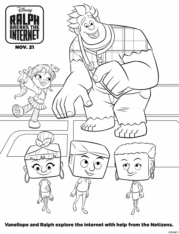 Ralph Breaks The Internet Ralph and Vanellope Coloring Page