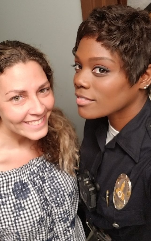 Afton Williamson on the set of The Rookie