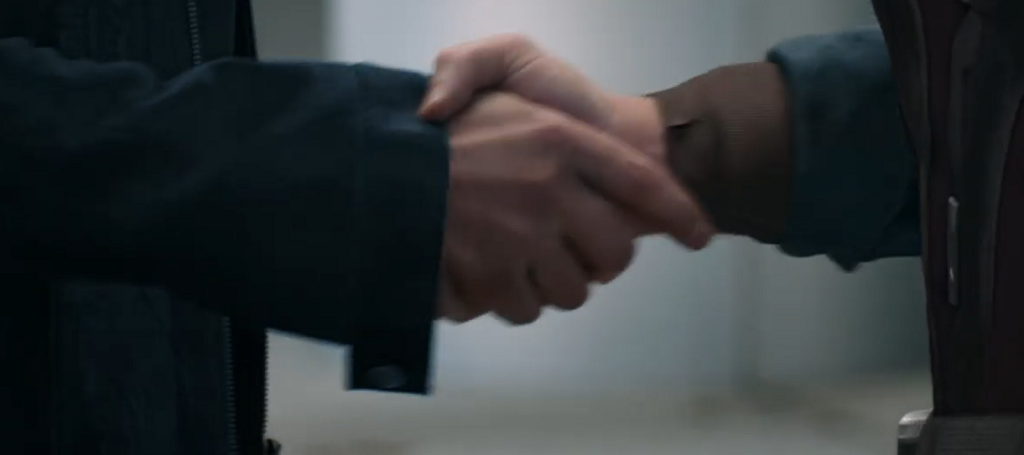 avengers endgame cap and iron man hand shake