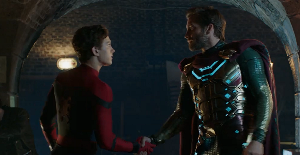 spider-man far from home mysterio and peter shaking hands