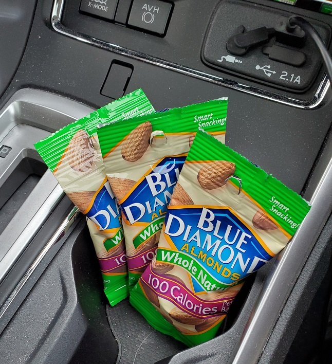 Blue Diamond Whole Natural Almonds in car