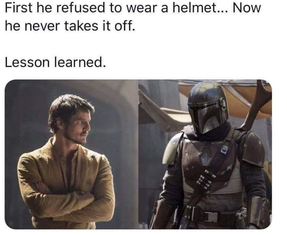 Mandalorian helmet meme