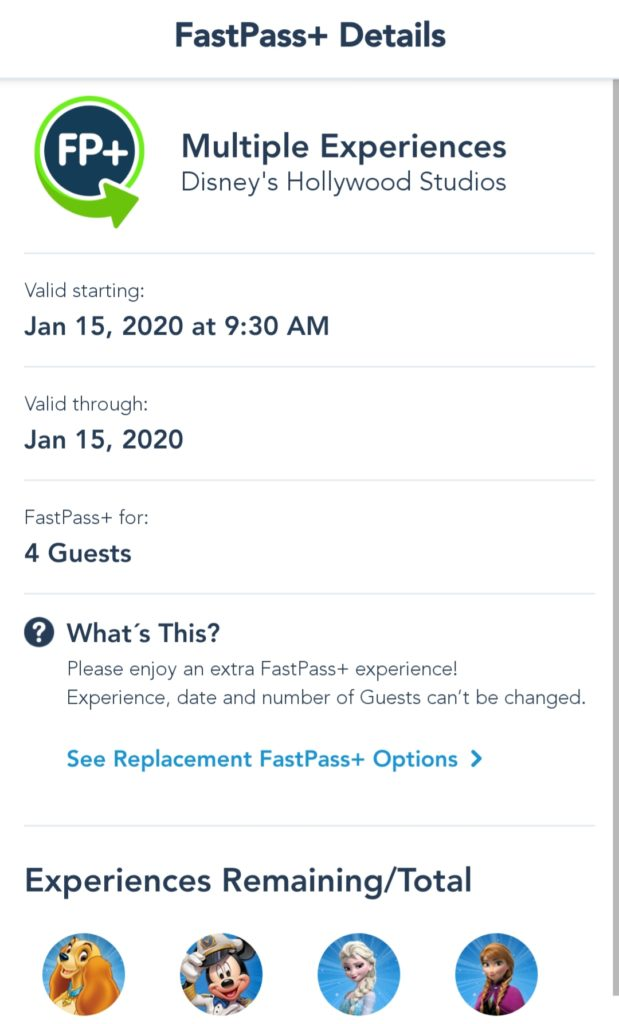 wdw multiple experience fastpass