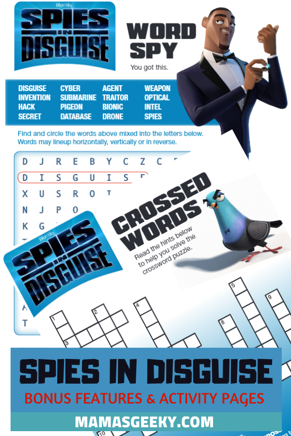 spies in disguise activity sheets