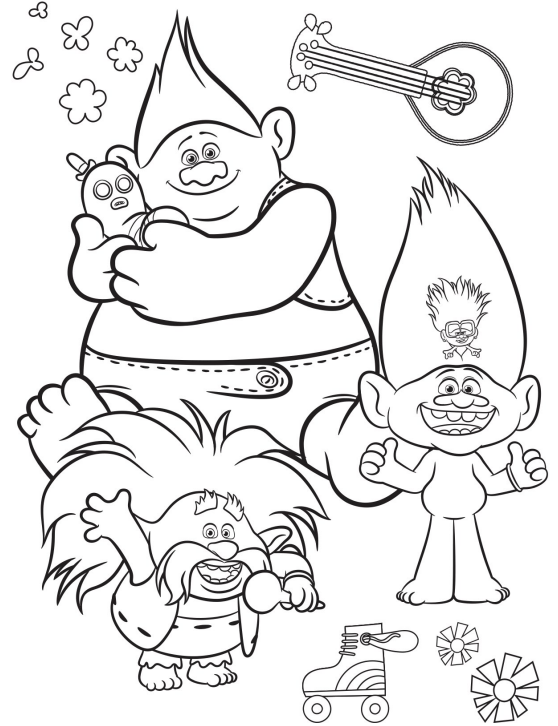 trolls world tour coloring page