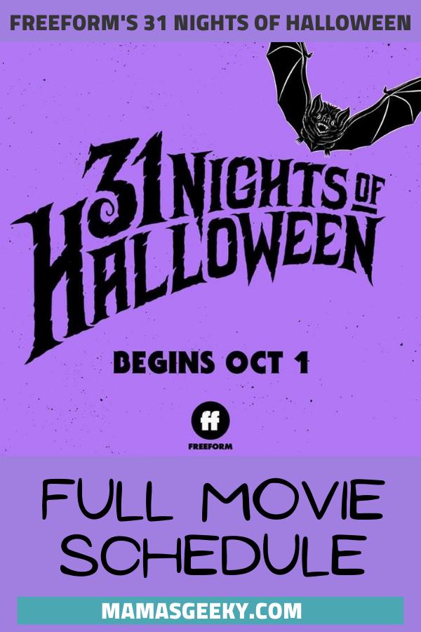 Halloween Schedule 2020 Freeform's 31 Nights of Halloween Full Movie Schedule
